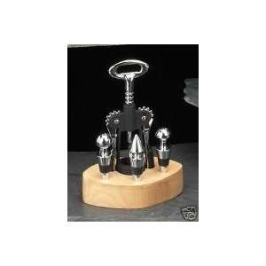 Executive Style 5 PC Bar Accessory Set with 3 Wine Bottle