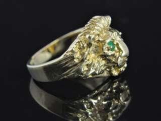 Estate Vtg Kitsinian 14K Gold Natural Emerald Lion Ring
