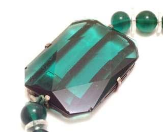 Vintage ART DECO Necklace Emerald Green Sterling Silver
