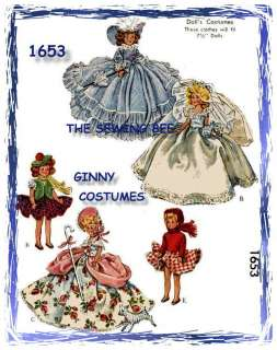 1653 Ginny Doll Costume Patterns 7 1/2 Dolls Vintage