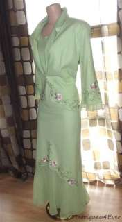 VTG 90s 30s Linen EMBROIDERED Roses NEO VICTORIAN Dress & Jacket