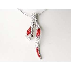 Predatory Ruby Clear Crystal Rhinestone Snake Serpent Hanging Pendant