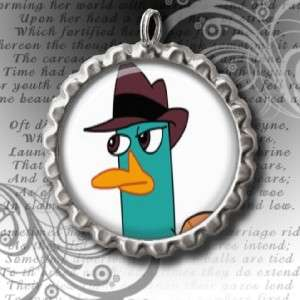 PHINEAS & FERB PERRY THE PLATYPUS BOTTLE CAP NECKLACE