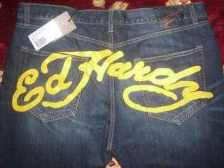 Ed Hardy Mens Blue McQueen Jeans Size 46/34 Authentic Medium Signature
