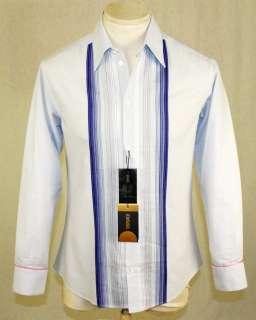 Versace   Blue & White Guayabera Shirt   Size US M EU48
