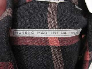 MORENO MARTINI DE FIRENZE Mens Gray Pink Plaid Shirt M
