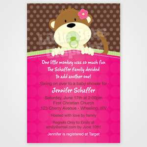 20 PeekaBoo Monkey Jungle Baby Shower Invitations
