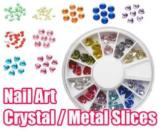 Nail Art Crystal Rhinestones facets Glitter Metal Slices Acrylic Tips