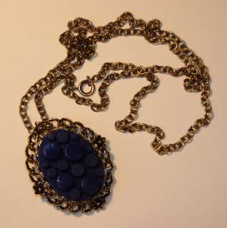 VINTAGE GOLD TONE COBALT BLUE GLASS NECKLACE PENDANT 24