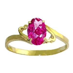 Genuine Oval Pink Topaz 14k Gold Promise Ring Jewelry