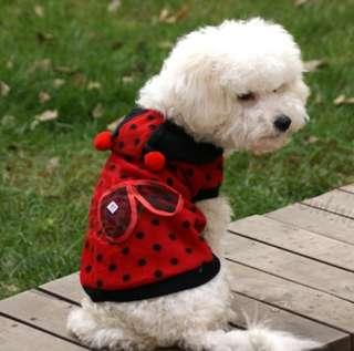 Cute Pet Dog Cat Red Ladybug Dress Up Coat Clothes XS/S/M