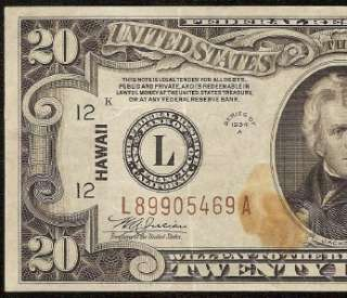 1934 A $20 DOLLAR BILL FEDERAL RESERVE WWII HAWAII NOTE OLD PAPER