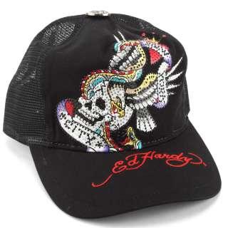 Ed Hardy Black Rhinestone Platinum NYC Embroidered Mesh Cap