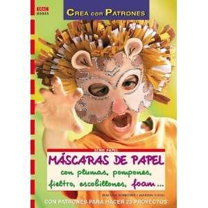 Mascaras de Papel con Plumas, Pompones, Fieltro, Escobillones, fo Am