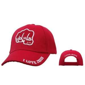 John 316 Christian Baseball Cap RED Hat with Fist Fighting