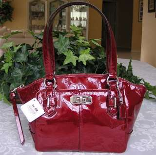 COACH CHELSEA PATENT LEATHER SMALL BAG PURSE WINE RED 46262 NWT