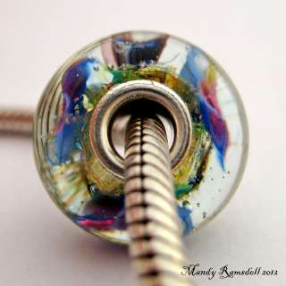PANSY GARDEN artisan sterling silver core european charm lampwork
