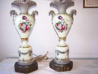 Pr. of Beautiful Antique Old Paris Lamps~Handpainted and Signed~3 Way