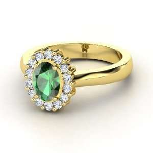 Princess Kate Ring, Oval Emerald 14K Yellow Gold Ring with