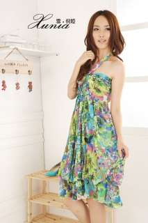 Sexy Halter Backless Sundress Chiffon Floral Ladies Ruffle Party Dress