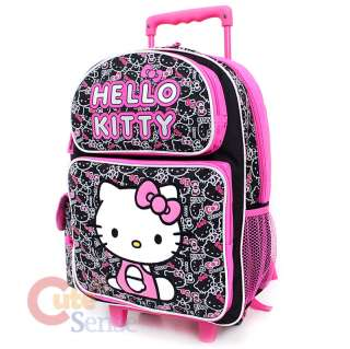 Kitty Large School Roller Backpack Lunch Bag Set Black Pink Outlines