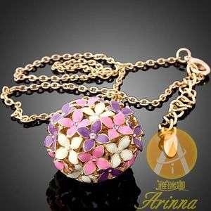 ARINNA Enamel Flowers Bouquet Gold GP Crystal Necklace