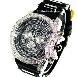 ICED OUT MENS SILVER ICE NATION HIP HOP BLING SILICONE WATCH