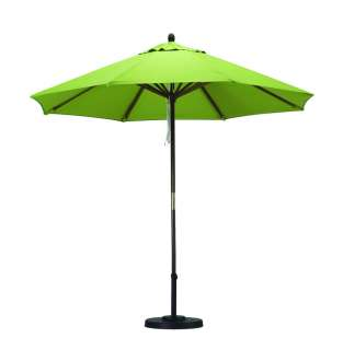 Lime Green Patio Market Umbrella Pulley Open   Polyester, Wood