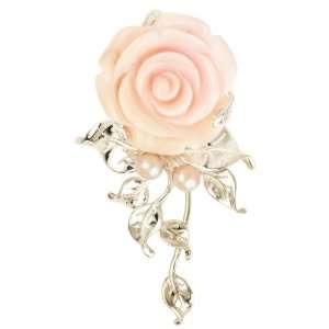 Queen Conch with Pink Pearl Rose with Leaves Pendant