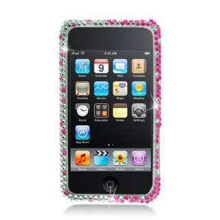 HOT PINK SILVER GRADIENT BLING RHINESTONES COVER CASE   IPOD TOUCH 4TH