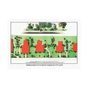 Improvements in Front Yards of City Lots 28x42 Giclee on Canvas