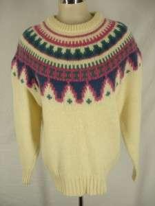 Vtg 80s WOOLRICH Fair Isle WOOL Mohair Sweater womens L pink ivory