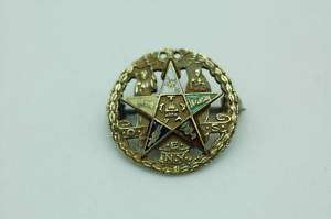 EASTERN STAR 10K GOLD & ENAMEL PIN MASONIC
