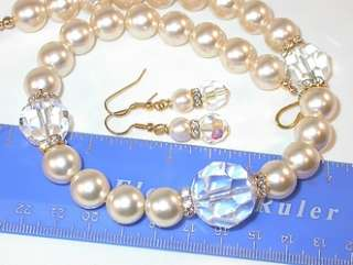 SWAROVSKI CRYSTAL & PEARL ELEMENTS Bridal Necklace Earrings Set