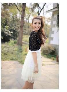 Korean Women Fake 2pcs Lace Cape Dress,9731,WHITE, sz S