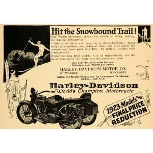 1922 Ad Harley Davidson Motorcycle Three Wheeled RARE