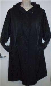 Eileen Fisher black all weather dress jacket hooded coat S 6 8