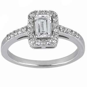 69 Carat Emerald Cut F VS1 GIA Certified Diamond Ring with Halo 14k
