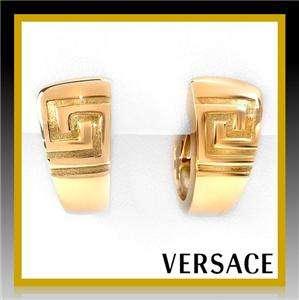 GIANNI VERSACE Greek Key 18K Yellow Gold Huggie Earrings Omega Lock 13