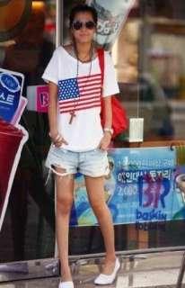 Womens Loose USA National flag Pattern Short sleeve Girls t shirt