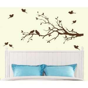 10 birds Wall Decals Sticker Nursery Decor Art Mural   IN DARK BROWN