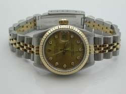 LADIES ROLEX OYSTER PERPETUAL 18K/SS DIAMOND DIAL DATEJUST WATCH