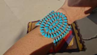 VTG OLD Navajo Zuni Turquoise Sterling Silver 3Wide HUGE Cuff
