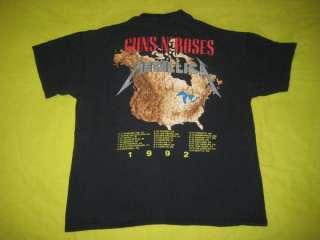 VTG METALLICA GUNS N ROSES 1992 TOUR T SHIRT CONCERT OG