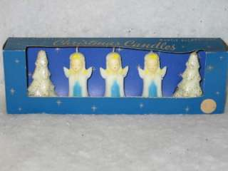 Vintage Gurley Christmas Tree Angel Candle Set IOB 50s