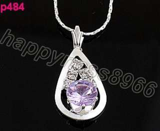 new purple Crystal Gutta Charm pendant necklace p0484