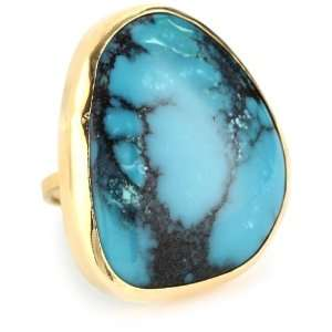 Joy Manning Neptune Gold and Silver Turquoise Ring Size 7 Jewelry