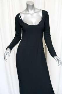 Crepe Long Sleeve Scoop Neck Gown Formal Dress+Padded Bra 6