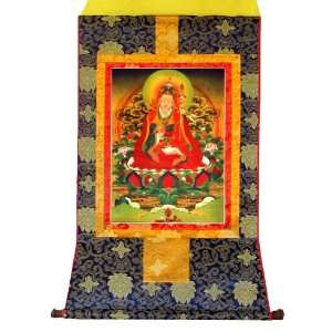Guru Rinpoche Tibetan Buddhist Handmade Brocade Thangka
