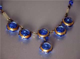 DECO SAPPHIRE BLUE ART GLASS NECKLACE w/ OPEN BACK MOUNTINGS